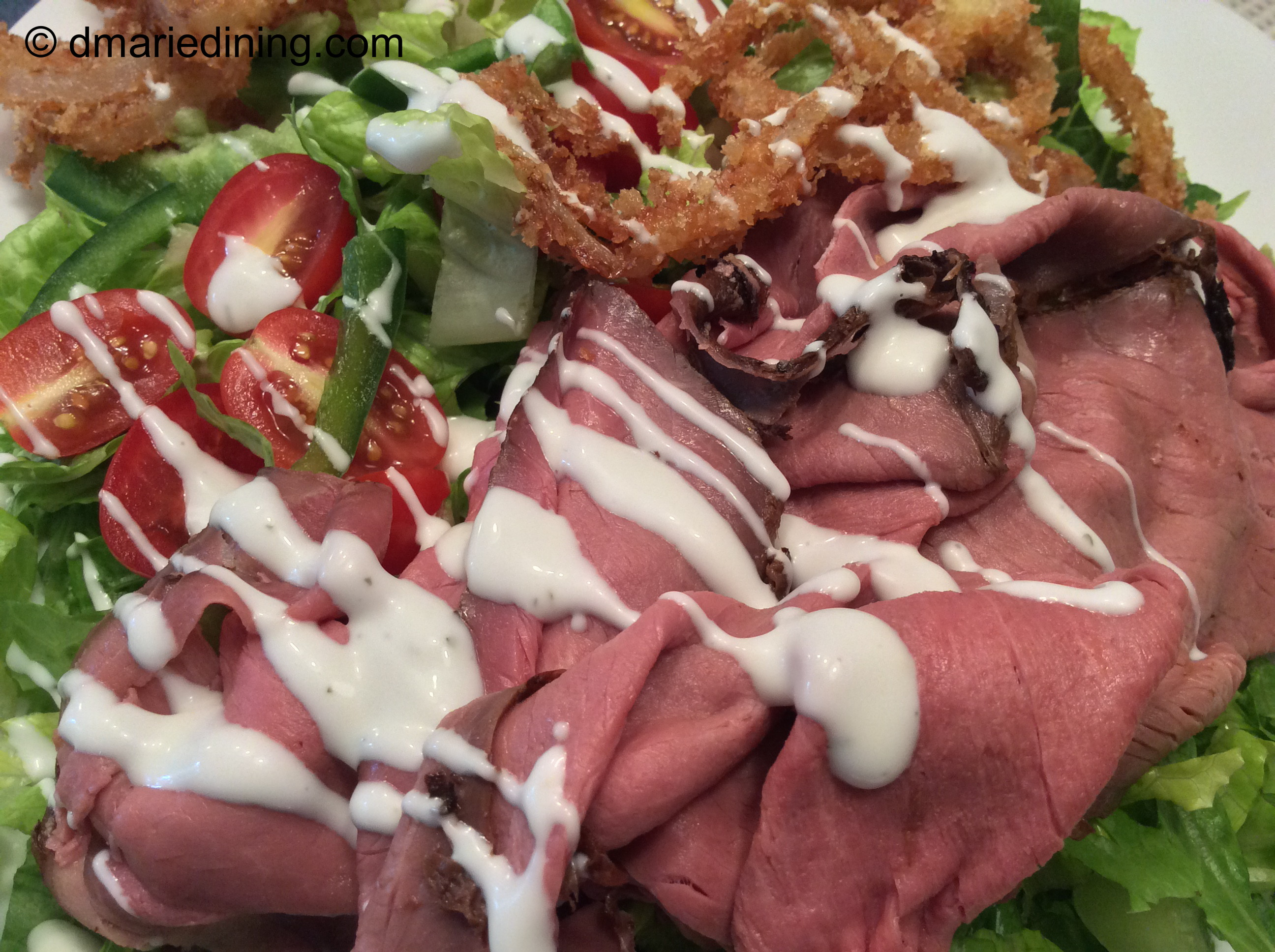 London Broil Salad with Crispy Fried Onions | dmarie-dining