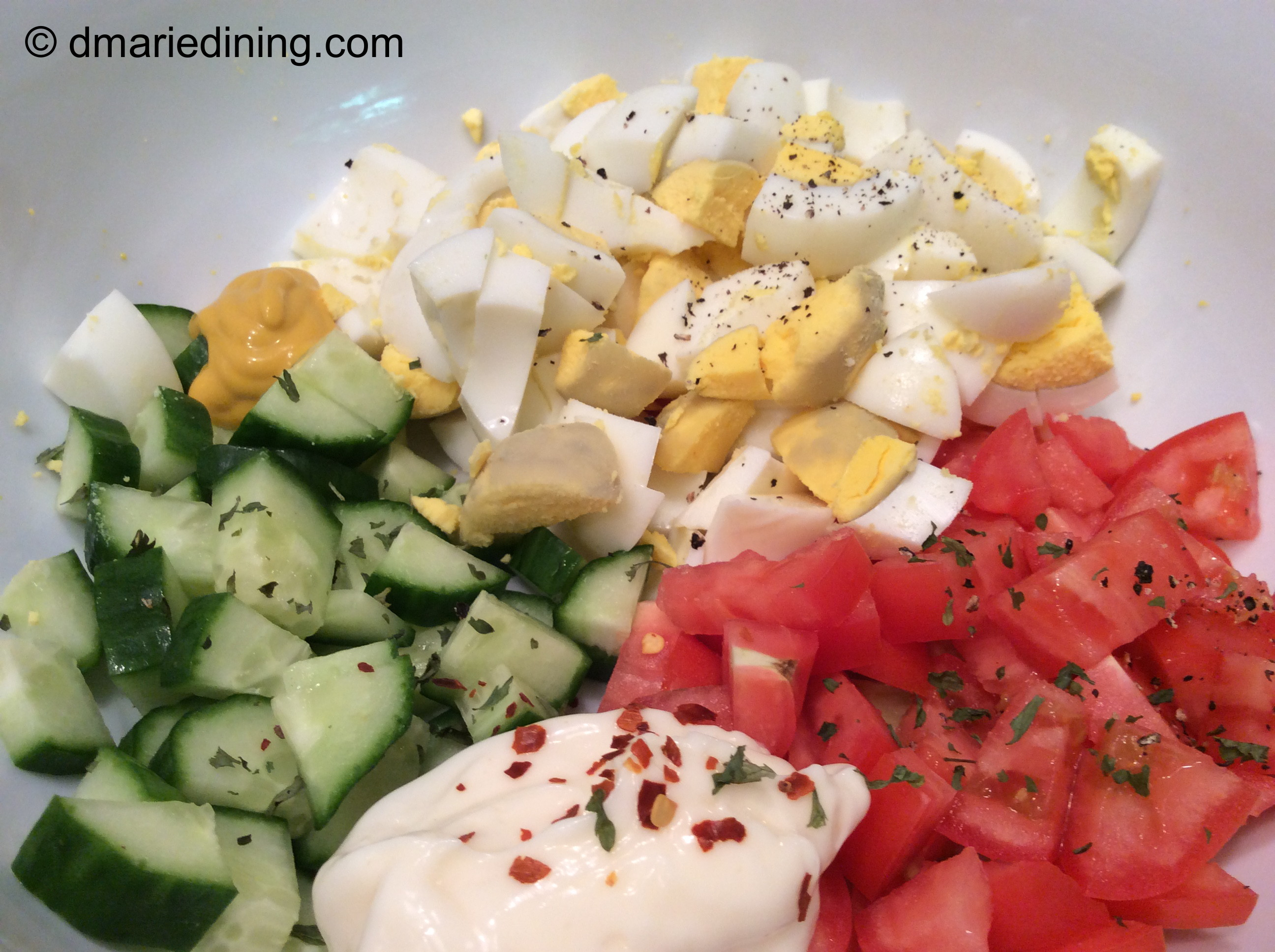 Basic Egg Salads Are Pale Yellow And White With Sprinkles Of Dull Green Sweet Relish Me I Left Out The Relish And Added A Vibrant Green By Putting Diced